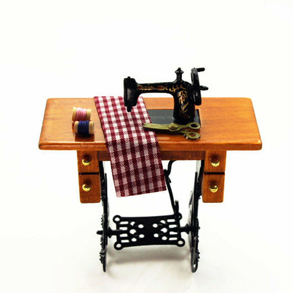 1/12 Dollhouse Miniature Accessories Mini Metal Sewing Machine    Simulation  Model Toys for Doll House Decoration