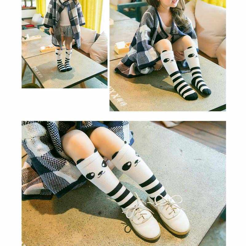 NIÑOS Calcetines de la rodilla niño niñas calcetines calentador de la pierna de gato lindo bebé negro calcetín de algodón para bebé niña perezoso Calcetines