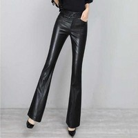 S 2XL Fashion Women Elastic Khaki Pants Ladies Casual Pant Stripe Split Bell Bottom High Waist Boot Cut Trousers Flare Trousers