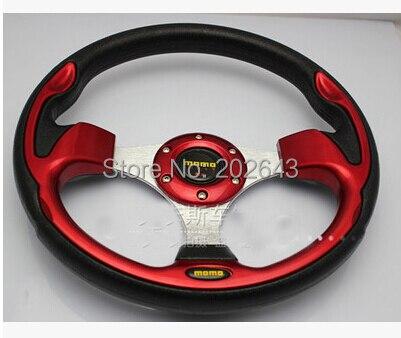 Carbon racing steering wheel with pvc aluminum bracket 13320mm universal red/blue leather steering wheel steering-wheel