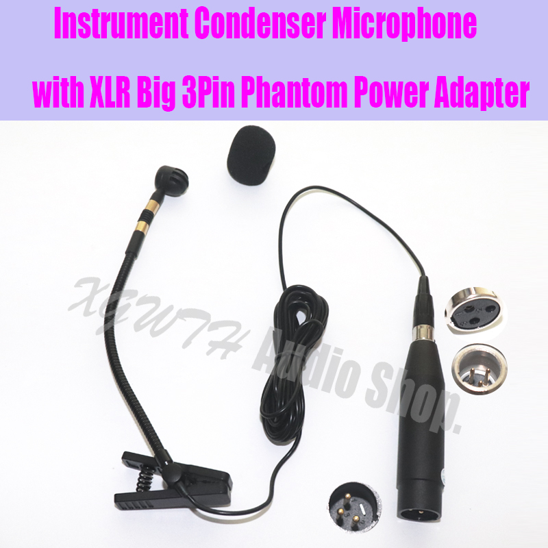 Pro Saxophone Violin Erhu Flute Gourd Orchestral and Other Musical Instrument Microphone with XLR Big 3Pin Phantom Power Adapter|Microphones| |  - title=