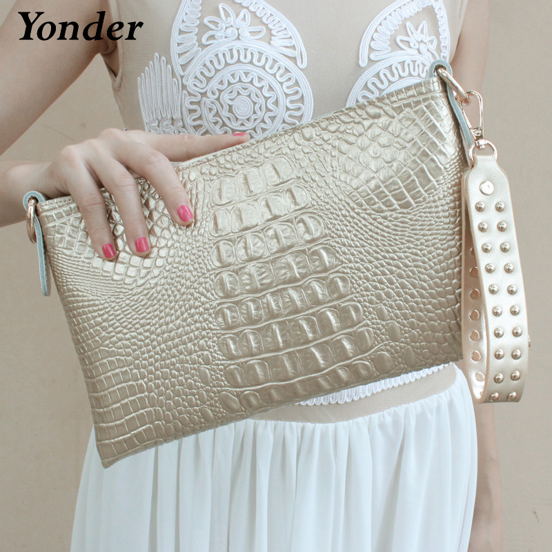 Yonder fashion women genuine leather day clutch female evening bags high quality ladies crossbody bags with