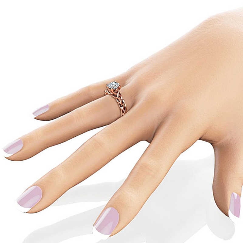 Romantique couleur or Rose avec grand rond Zircon bague de fiançailles cristal luxe anneaux de mariage pour les femmes fête bijoux cadeau anillos