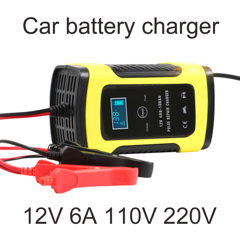 12v 6A Motorcycle Battery Charger Car 110V-220V Automatic Intelligent Pulse Repair For Wet Dry Lead Acid Digital LCD Display12v 6A Motorcycle Battery Charger Car 110V-220V Automatic Intelligent Pulse Repair For Wet Dry Lead Acid Digital LCD Display