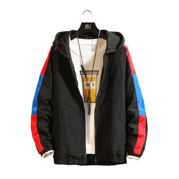 KUYOMENS Patchwork kolor bloku sweter kurtki z kapturem 2019 jesień Zipper dres kurtki na co dzień Hip Hop męskie Streetwear tanie i dobre opinie Poliester REGULAR Skręcić w dół kołnierz Stałe Konwencjonalne Cienkie NONE HZF8807-4 Kieszenie Kurtki płaszcze