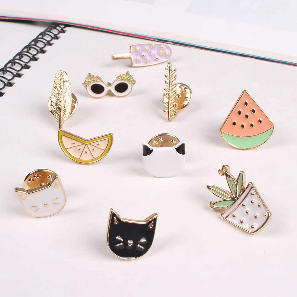 2018 Lucu Tetes Minyak Kartun Buah Kucing Sunglass Hijau Daun Es Krim Semangka Pakaian Dekorasi Logam Bros Pins Perhiasan Wanita