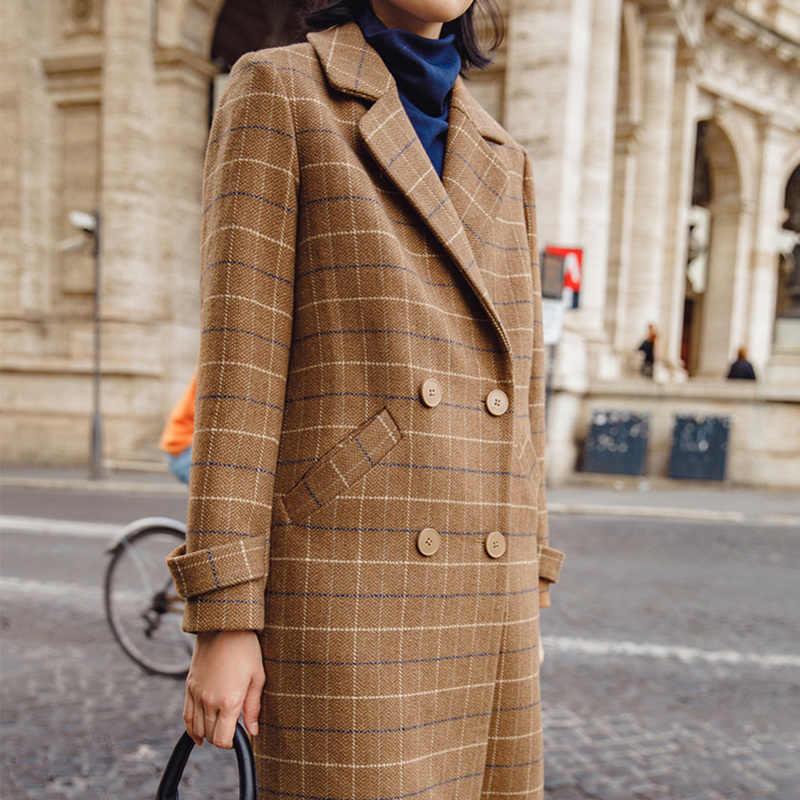 INMAN Sonbahar Dönüş Aşağı Yaka Ekose Desen Çift Meme Zarif Uzun Gevşek Stil Kadın Moda Yün Retro Giyim Ceket