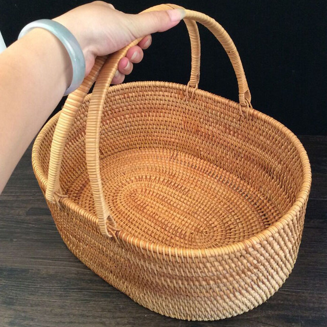 Portable Rattan Fruit Basket Hand Held Storage Box Organizer Crafts Food  Fruits Bread Snacks Pastry