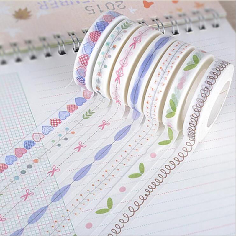 And Paper Tape Small Fresh Series Of Hand-Painted Love Border Dividing Line Tape Home Decoration Tape Office Stationery 1pc