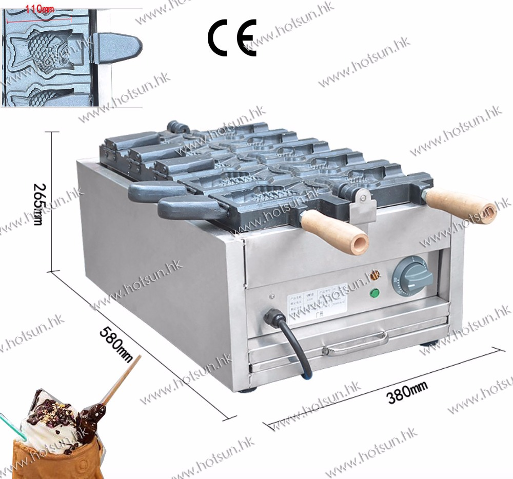 5pcs Bungeoppang Fish Waffle Commercial Use Non-stick 110v 220v Electric Ice Cream Taiyaki Iron Baker Machine Maker taiyaki fish maffle maker waffle ice cream machine