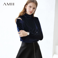 Ami Minimalist Hollowed Out Velvet T Shirt Women Fall 2019 Causal New Solid Turtleneck Long Sleeve Winter Female Tops Tees
