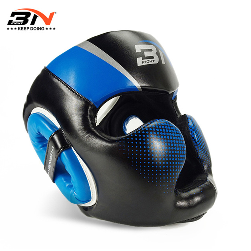 BN Boxing Headgear Menn Kvinner Muay Thai PU Leather Training Sparring Gym Utstyr Grant Safe Boxing Helmet Taekwondo Guard