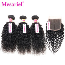 Mesariel Bundles With Closure Brazilian Hair Weave Bundles Kinky Curly Hair Remy Human Hair 3 Bundles With Closure Free Part(China)