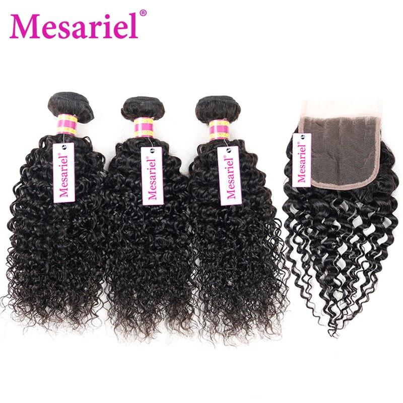 Mesariel Bundles With Closure Brazilian Hair Weave Bundles Kinky Curly Hair Remy Human Hair 3 Bundles With Closure Free Part