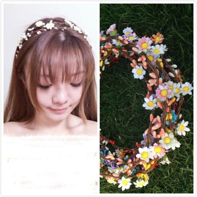 (4 adet / grup) Bohem Stili Çelenk Çiçek Taç Düğün Garland - Tatiller ve Partiler Için - Fotoğraf 1