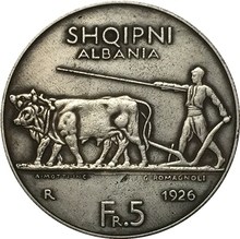 Albania 1926 5 Frang Ar COIN COPY FREE SHIPPING 37mm(China)