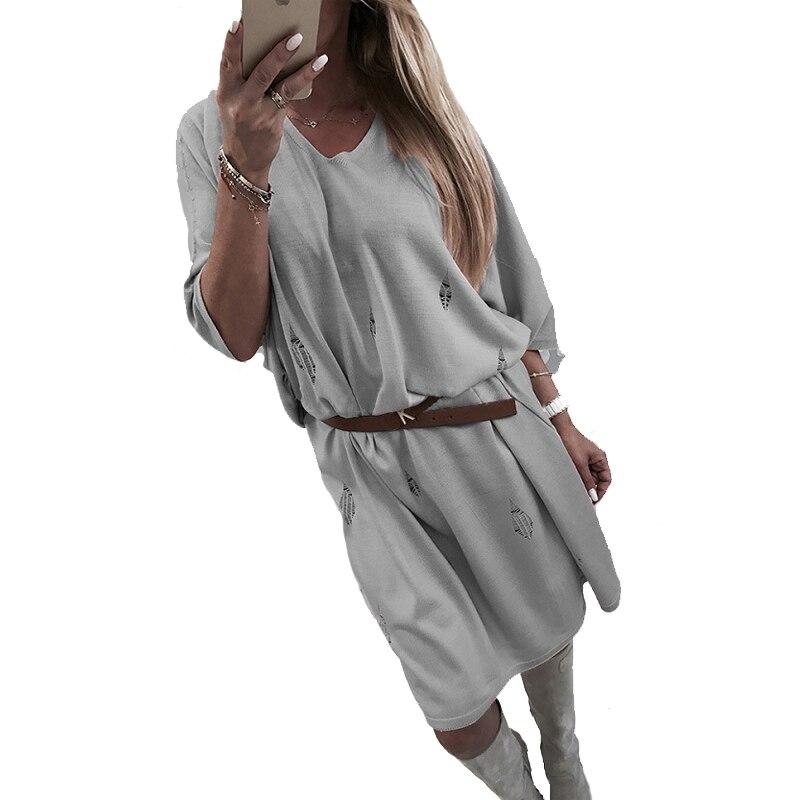2018 Women Print Dress Loose Half Sleeve Casual Ladies Round Neck Knee Length Dresses