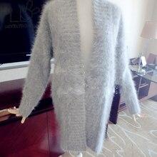 LOVELYDONKEY mink cashmere sweater women long cashmere cardigan pure cashmere sweater mink fur coat free shipping M284