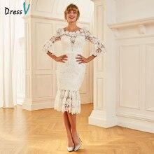 Платье женское, кружевное, с глубоким вырезом, длиной 3/4, на молнии