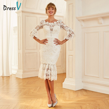 Vestido de novia Dressv de encaje elegante con cuello redondo, mangas 3/4, largo del té con cremallera, vestidos de novia al aire libre y tubo de la Iglesia, vestidos de boda