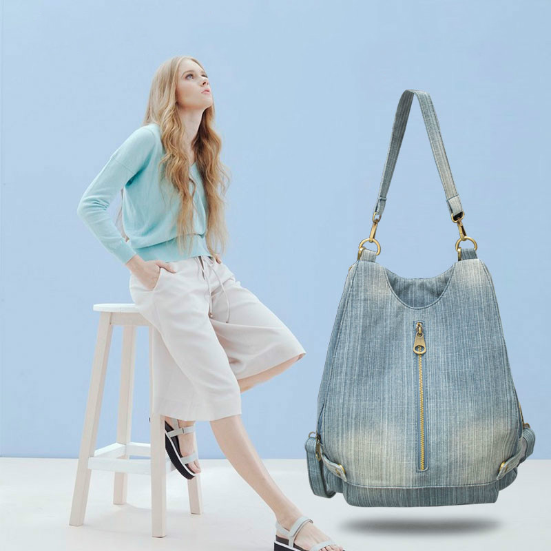 Femmes Vintage lavé Denim Jean sac à dos fille mode multifonctionnel voyage sac à bandoulière grand Campus sac d'école Mochila Bolsa