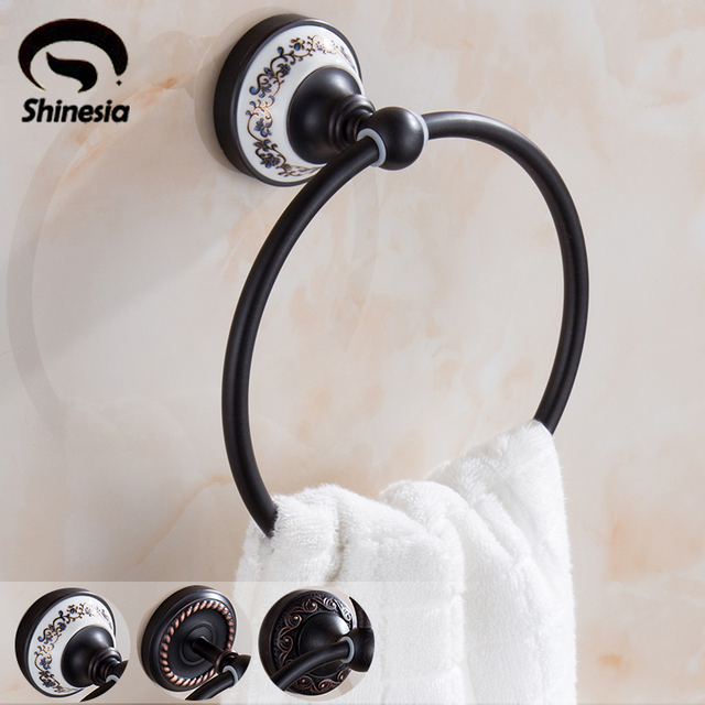 Luxury Oil Rubbed Bronze Bathroom Towel Ring Solid Brass Bathroom Hardware Bathroom  Accessories
