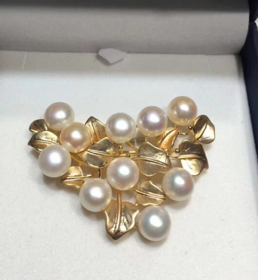 free shipping >>>>noble jewelry New design 8-9mm Freshwater Pearl Brooches