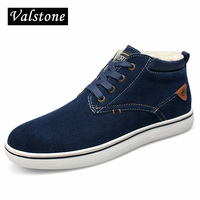 Valstone الرجال المتوسطة أعلى حقيقية بقرة جلد الغزال أحذية شتاء دافئ سنو أحذية بأربطة الكاحل سميكة مبطن المخملية الأحذية
