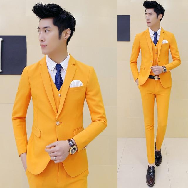2017 Latest Coat Pant Designs Yellow Men Suit Prom Tuxedo Slim Fit 3 ...