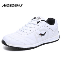 Men Sports Shoes PU Leather Waterproof Mens Running Shoes Black White Running Trainers Mens Spring Autumn