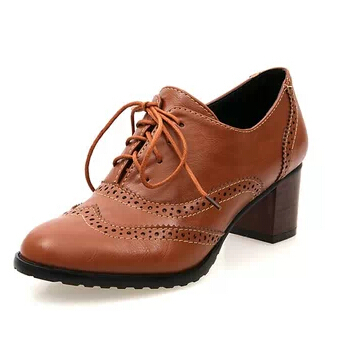 Nice Fashion Vintage Carved Thick Heel Lace Up Round Toe Pumps Oxford Shoes  Woman Ankle High