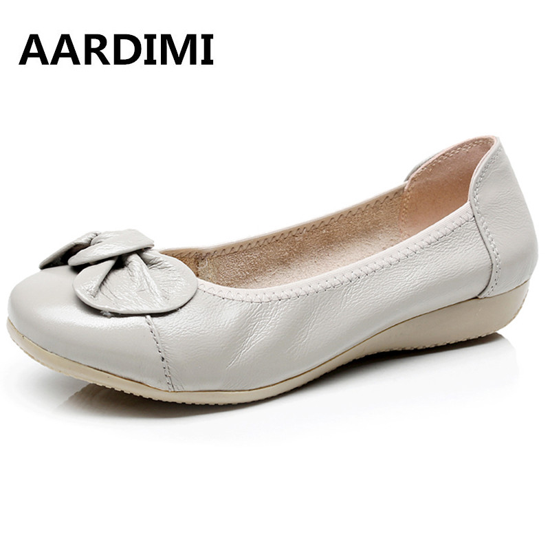 HOT Plus Size 35-43 Genuine leather shoes flats women loafers fashion bowtie causal ballet flat shoes women chaussure femme freeshippin best selling lady fashion ballet flat shoes confort genuine leather flat shoes plus zie eur35 40 4 colours c011