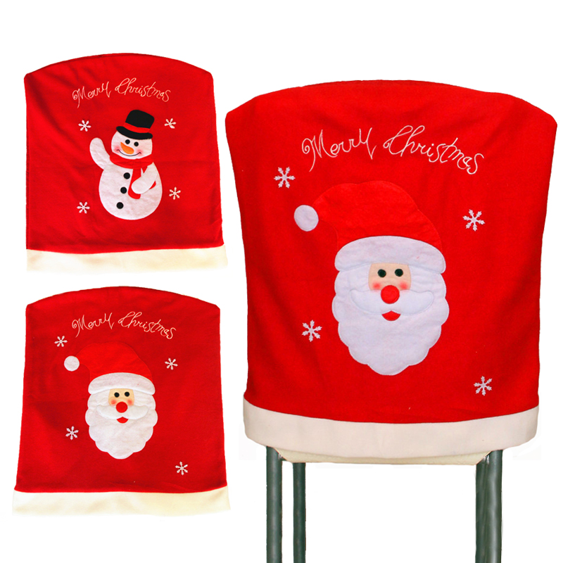New 1PC Santa Claus Snowman Red Hat Christmas Dining Room Chair Cover Seat Back Coat