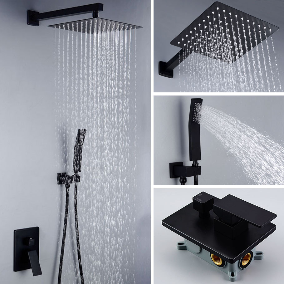 Bathroom Accessories Concealed Shower Head Set Luxury Bathroom Wall Concealed Rain Shower System Solid Brass Black Shower Set
