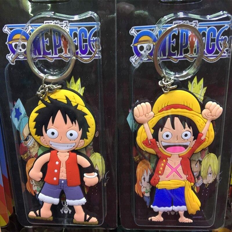 Anime Cartoon Cute Kawaii One Piece Luffy keychain Action Figure Toys double-sided Silicone PVC keychain