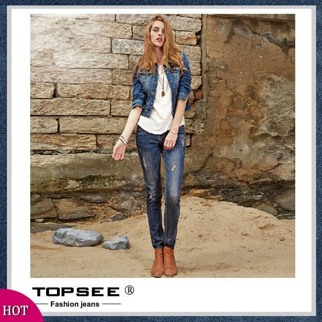 ФОТО 2016 New Women Jeans Slim Denim Plus Size Hole Jeans Straight Trousers Women Free Shipping c352