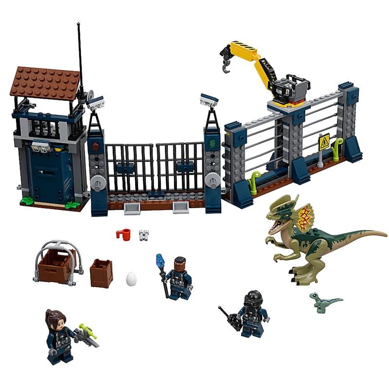 Jurassic World The Dilophosaurus Front Gate Attack Building Blocks Compatible  75931 figure Bricks Children Toys