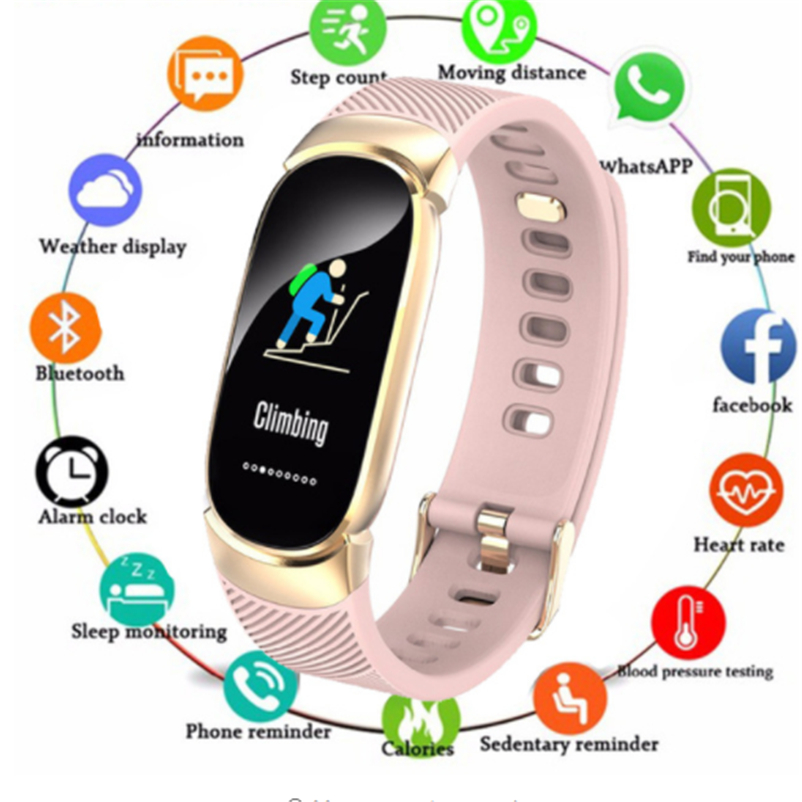 Fitness-Tracker Band Smartwatch Bluetooth Heart-Rate Sports Waterproof Monitor Metal-Case