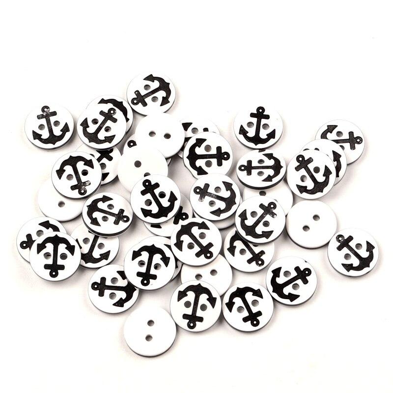 Пуговицы полимерные с черным якорем для шитья одежды, 100 шт.