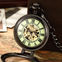 Unique Retro Transparent Men Pocket Watch Black Silver Steel Watch FOB Chain Quartz Pocket Watch New Luminous Watch Clock