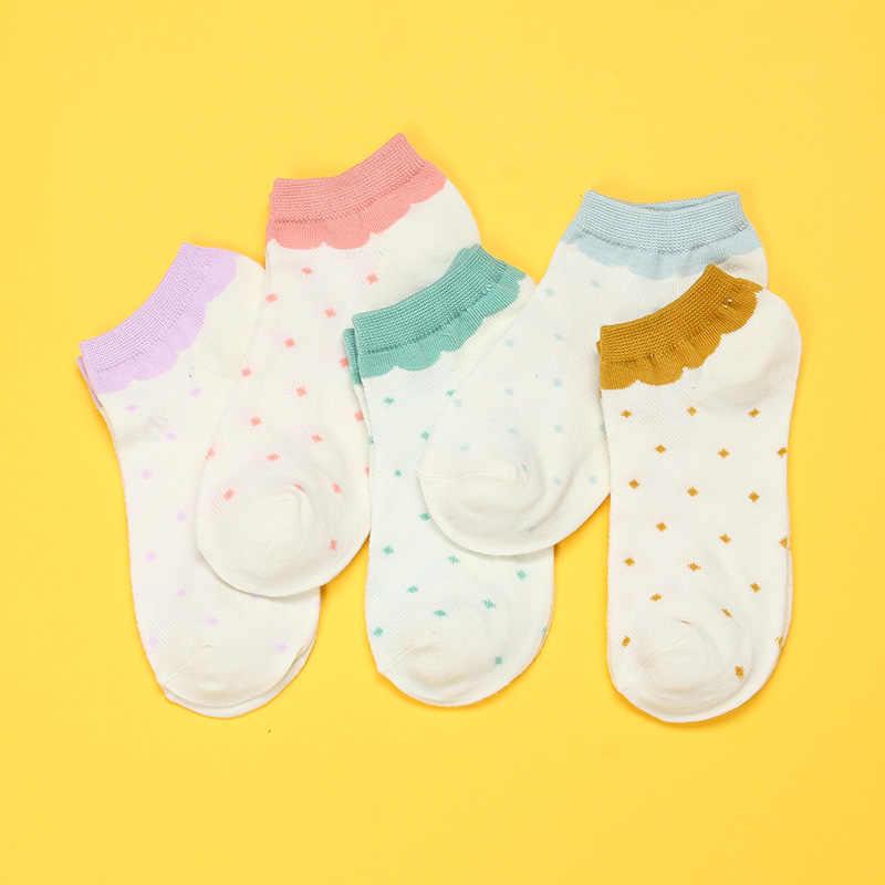 Polka Dot Popsocket Kadın Çorap Yaz 2019 Yeni Rahat Sevimli Çorap No Show Düşük Kesim Kadın Kız Aile Görünmez Çorap