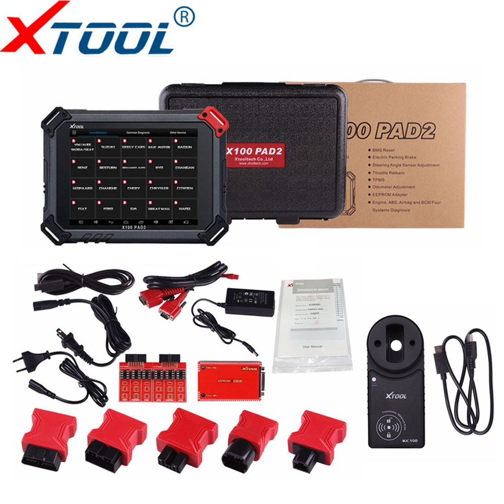 Original XTOOL X100 Pad2 Pro Auto Key Programmer With KC100 Wifi/Bluetooth For VW 4th 5th Pro PAD 2 EPB EPS OBD2 Odometer adjust obdstar vag pro car key programmer epb airbag srs odometer mileage change obd 2 scan tool for vw audi skoda seat volkswagen