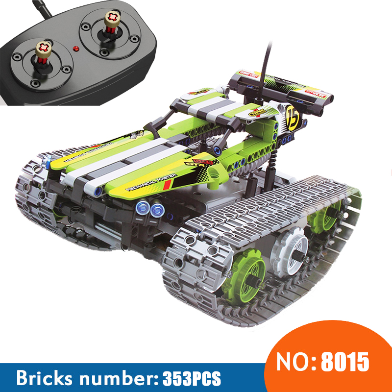 NEW 8015 353Pcs Technic The RC Track Remote control Racer Building Block children's toy birthday gift compatible with 42065-in Blocks from Toys & Hobbies