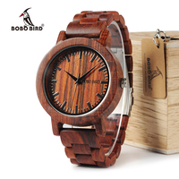 BOBO BIRD M10 Latest Men Women Wooden Watches Red Sandalwood Case Scale Dial Redwood Band Quartz