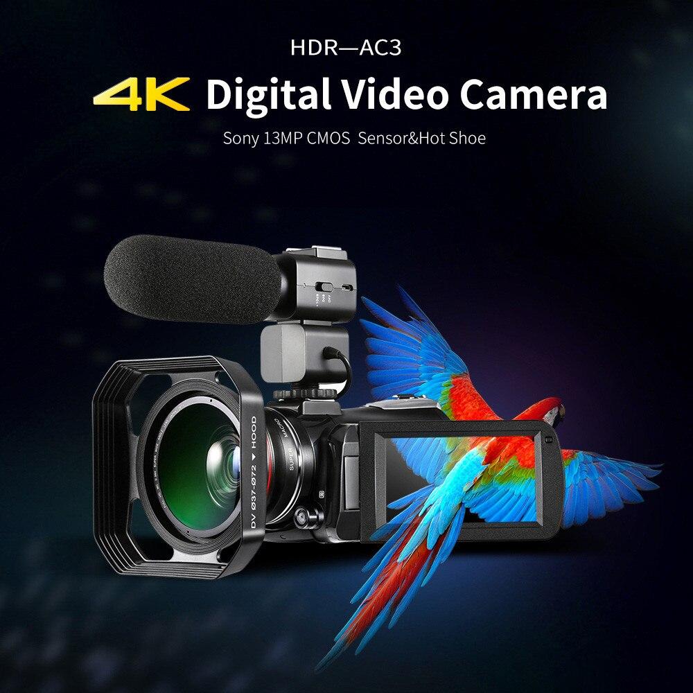 HIPERDEAL ORDRO AC3 4 k Ultra HD 60FPS Vidéo Caméra WIFI APP Externe Microphone 30X Professionnel Appareil Photo Numérique 13.0MP
