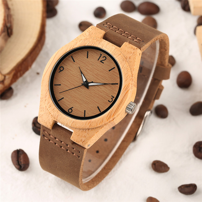 Creative Watches Women Genuine Leather Band Bamboo Case Lady Wrist Watch Wooden Light Yellow Dial Modern New Style Analog Clock