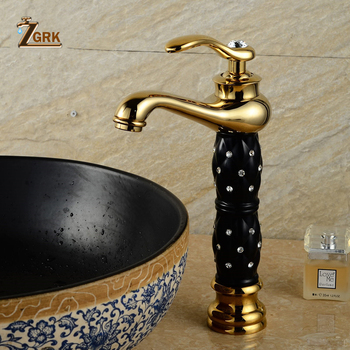 ZGRK Bathroom Faucets Euro Gold Washbasin Faucet Luxury Tall Bathroom Basin Taps Single Handle Single Hole Mixer Water Taps taps