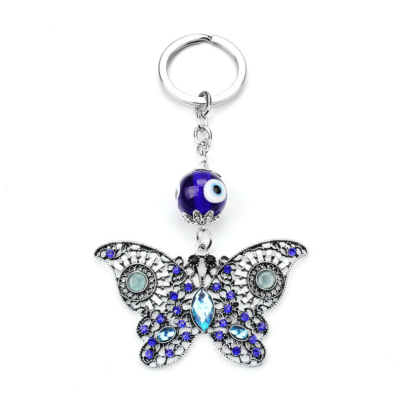 2017 Brand New Trendy Evil Eye Keychains Cute Animal Crystal Butterfly Keychain Keyring Car Accessoires