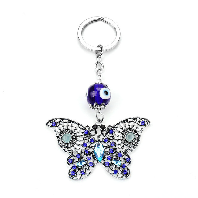 2017 Brand New Trendy Evil Eye Keychains Cute Animal Crystal Butterfly  Keychain Keyring Car Accessoires 6cf453e6ce6d