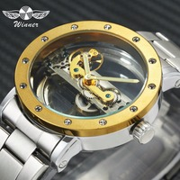 WINNER Watch Men Top Brand Luxury Golden Bridge Mechanical Watches 3D Bolt Design Stainless Steel Strap Steampunk Wristwatch